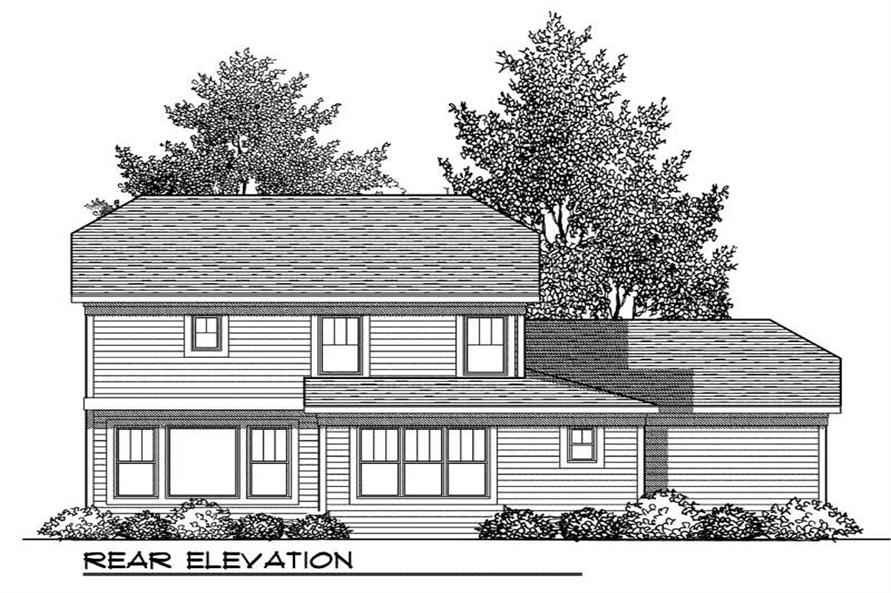 Home Plan Rear Elevation of this 3-Bedroom,2079 Sq Ft Plan -101-1350
