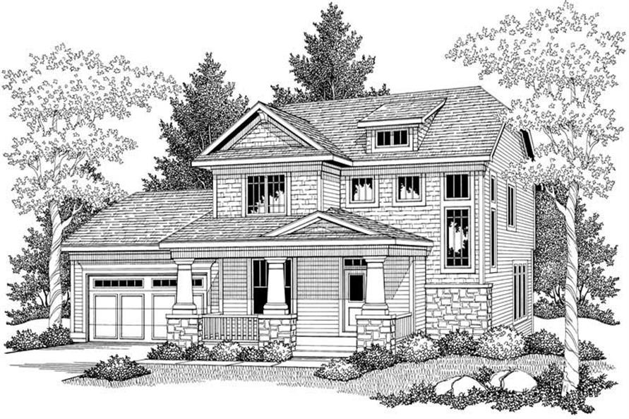 Home Plan Front Elevation of this 3-Bedroom,1902 Sq Ft Plan -101-1351