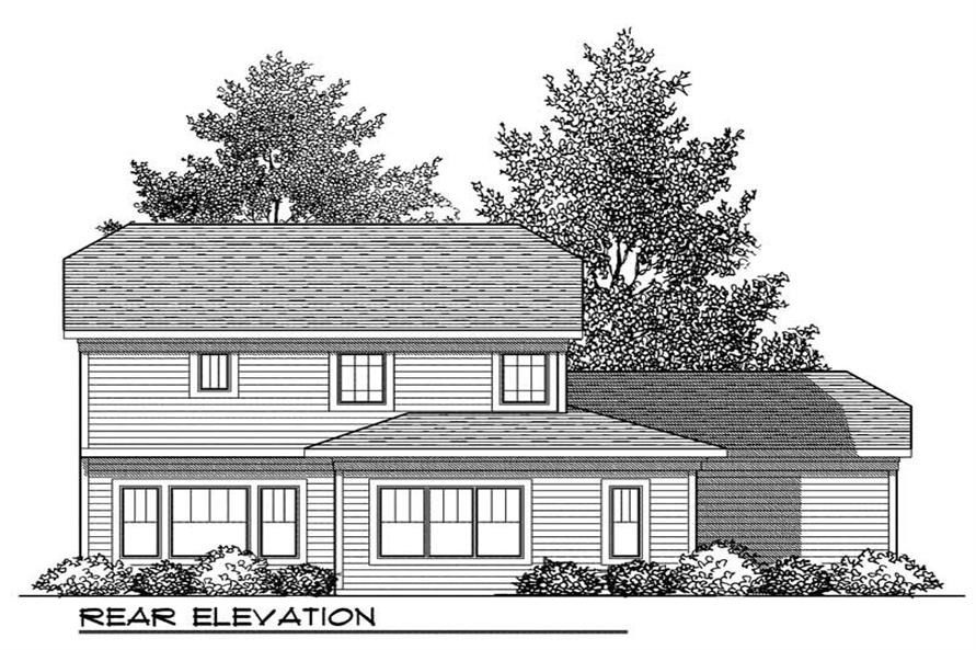 Home Plan Rear Elevation of this 3-Bedroom,1902 Sq Ft Plan -101-1351