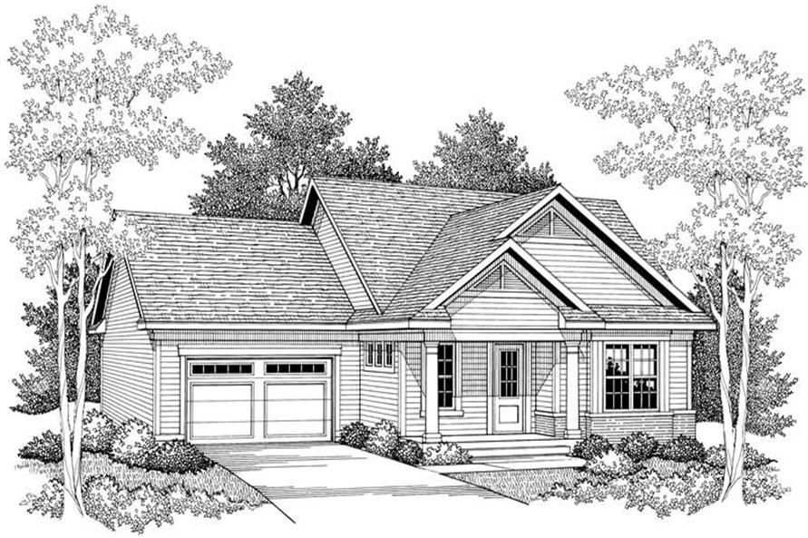 Home Plan Front Elevation of this 2-Bedroom,1649 Sq Ft Plan -101-1352