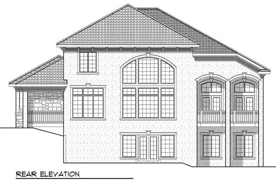 Home Plan Rear Elevation of this 4-Bedroom,3687 Sq Ft Plan -101-1353