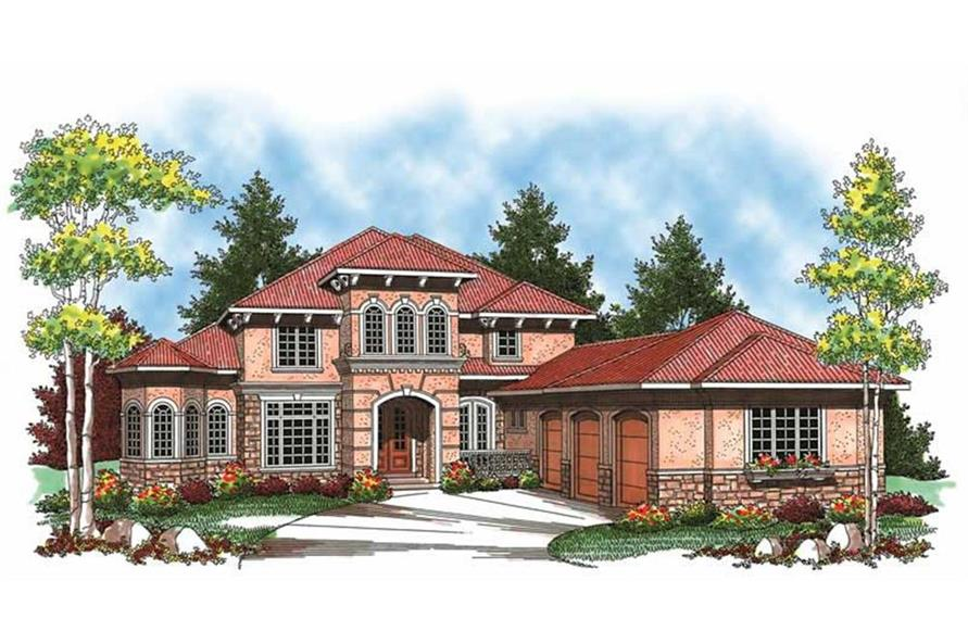 Home Plan Front Elevation of this 4-Bedroom,3687 Sq Ft Plan -101-1353