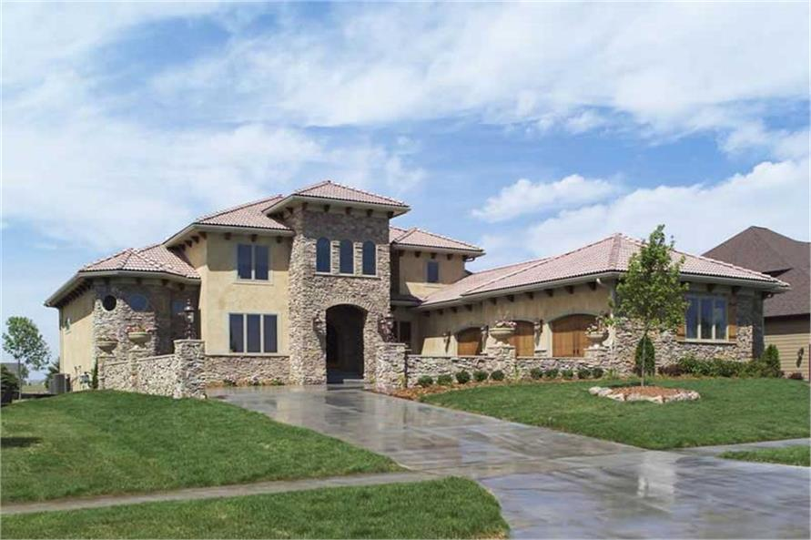 Luxury tuscan home with 4 bdrms 3687 sq ft floor plan for Luxury tuscan house plans