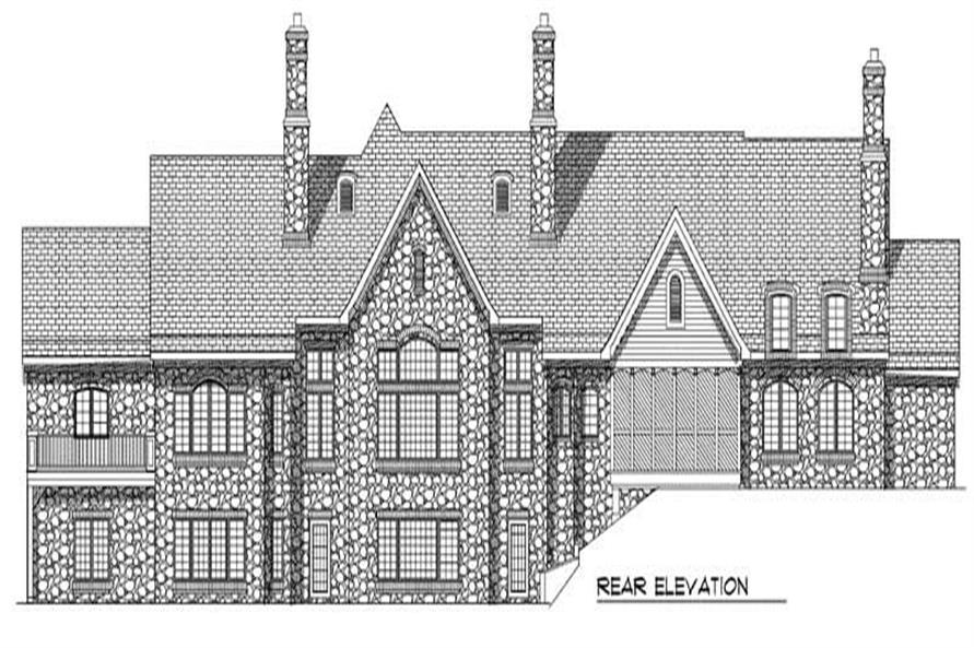 Home Plan Rear Elevation of this 5-Bedroom,6311 Sq Ft Plan -101-1361