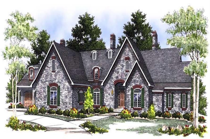 3-Bedroom, 3774 Sq Ft European Home Plan - 101-1362 - Main Exterior