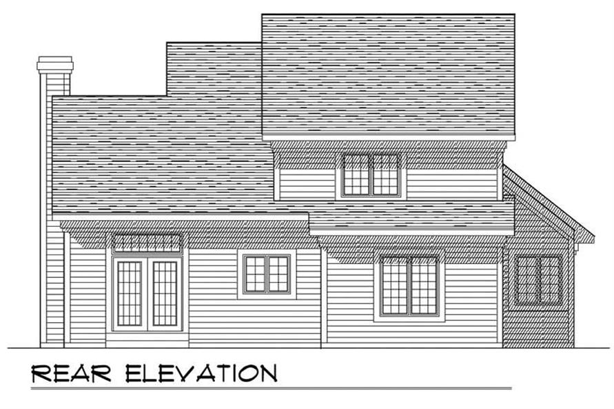 Home Plan Rear Elevation of this 3-Bedroom,1583 Sq Ft Plan -101-1371