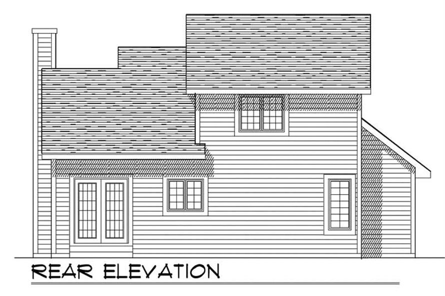 Home Plan Rear Elevation of this 3-Bedroom,1406 Sq Ft Plan -101-1374