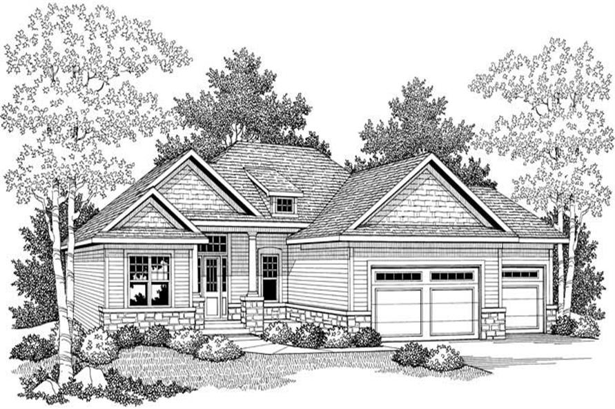 Home Plan Front Elevation of this 5-Bedroom,2716 Sq Ft Plan -101-1377