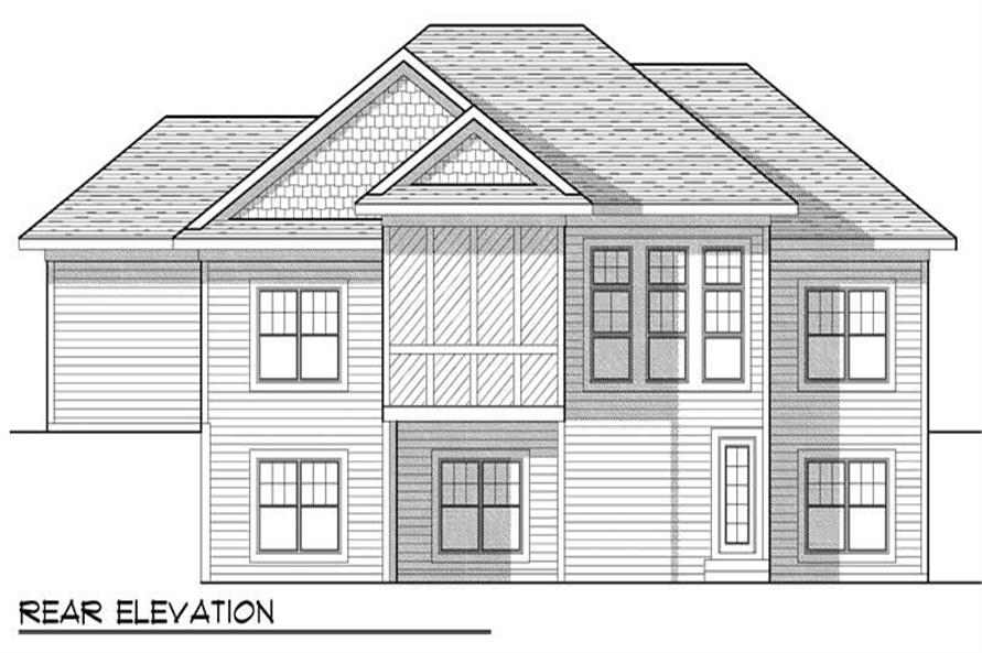 Home Plan Rear Elevation of this 5-Bedroom,2716 Sq Ft Plan -101-1377