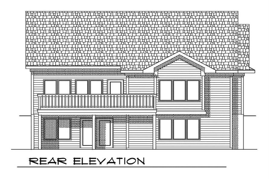 Home Plan Rear Elevation of this 2-Bedroom,1760 Sq Ft Plan -101-1380