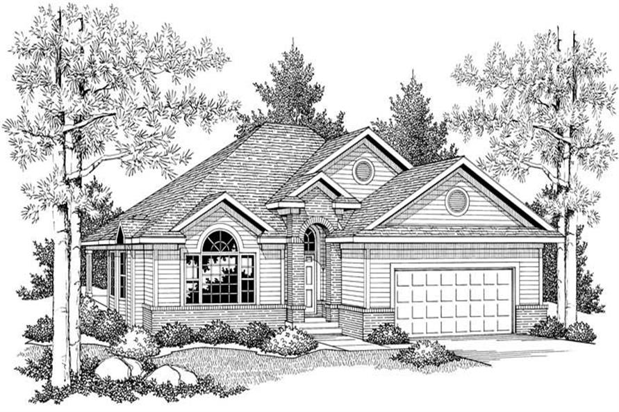 Home Plan Front Elevation of this 2-Bedroom,1409 Sq Ft Plan -101-1385