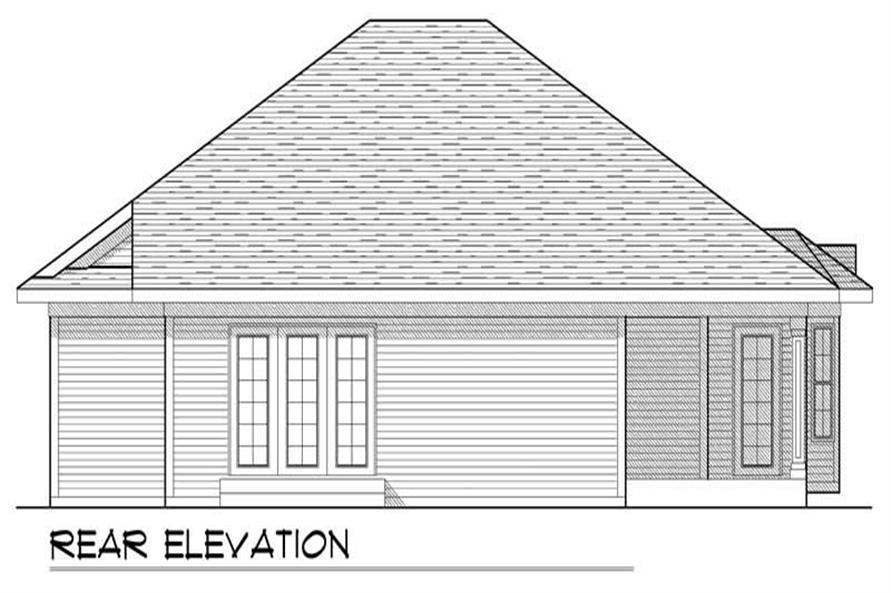 Home Plan Rear Elevation of this 2-Bedroom,1409 Sq Ft Plan -101-1385