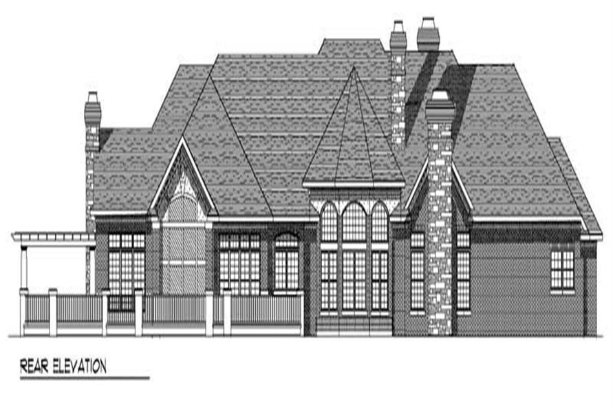 Home Plan Rear Elevation of this 3-Bedroom,5376 Sq Ft Plan -101-1386