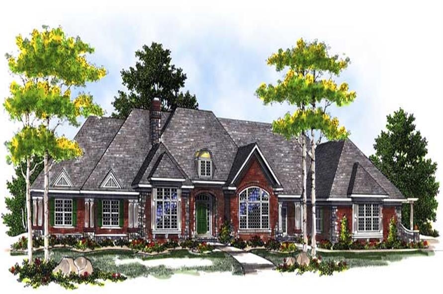 3-Bedroom, 5376 Sq Ft Luxury House Plan - 101-1386 - Front Exterior