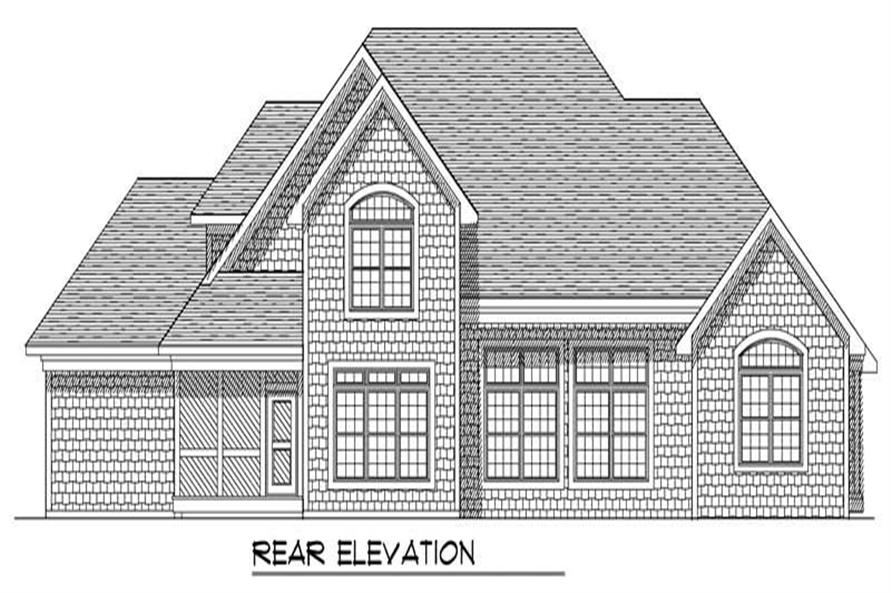 Home Plan Rear Elevation of this 4-Bedroom,3040 Sq Ft Plan -101-1387