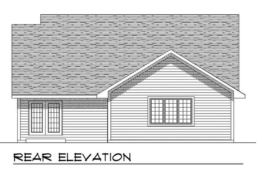 Home Plan Rear Elevation of this 3-Bedroom,1448 Sq Ft Plan -101-1388