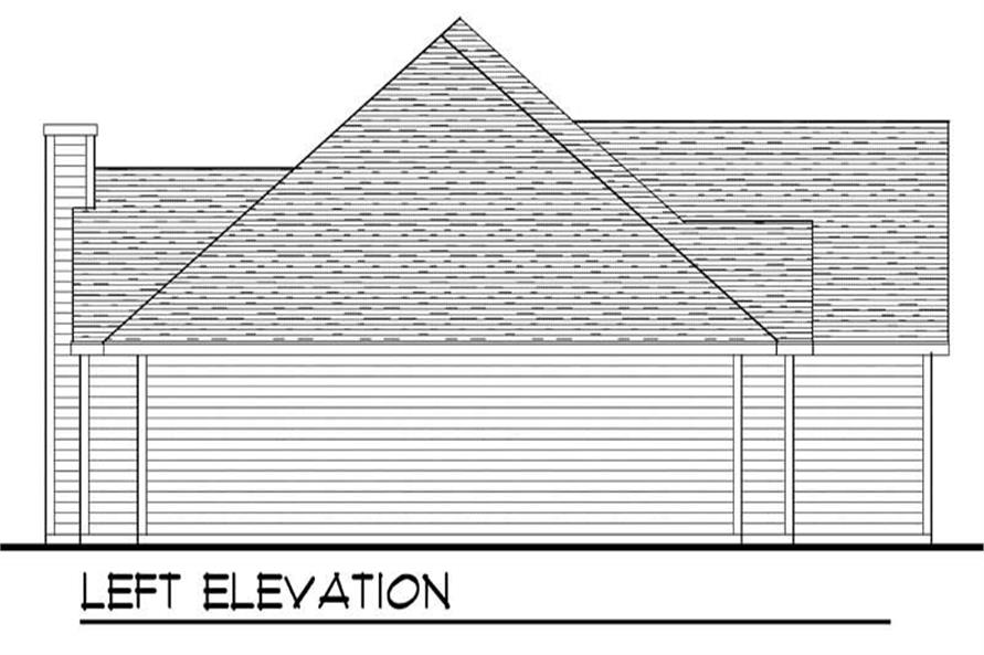 Home Plan Left Elevation of this 3-Bedroom,1802 Sq Ft Plan -101-1390