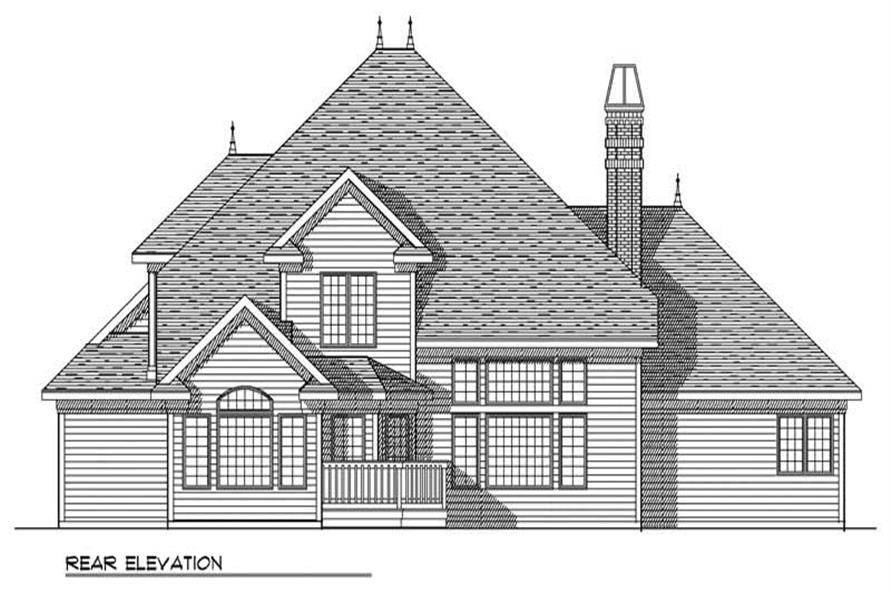 Home Plan Rear Elevation of this 4-Bedroom,3259 Sq Ft Plan -101-1391