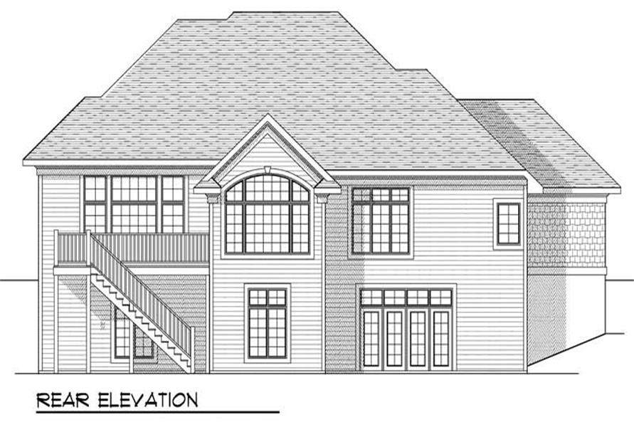 Home Plan Rear Elevation of this 4-Bedroom,3600 Sq Ft Plan -101-1394