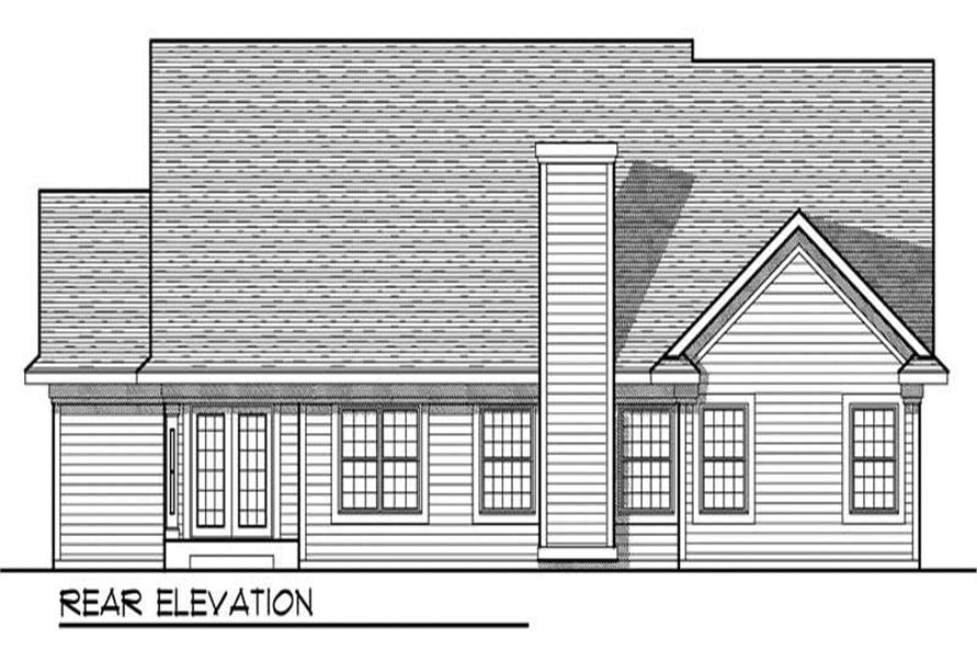 Home Plan Rear Elevation of this 3-Bedroom,1847 Sq Ft Plan -101-1396