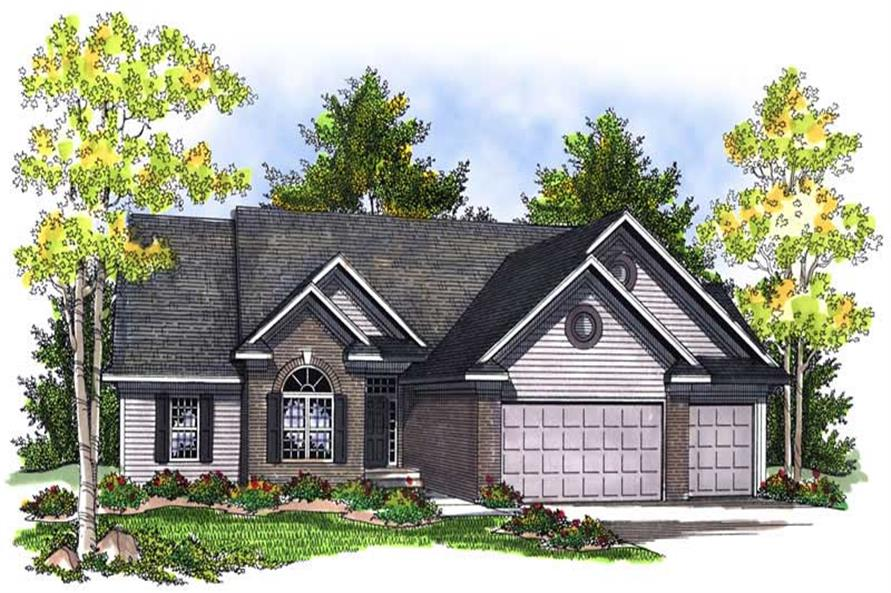 3-Bedroom, 1847 Sq Ft Ranch Home Plan - 101-1396 - Main Exterior