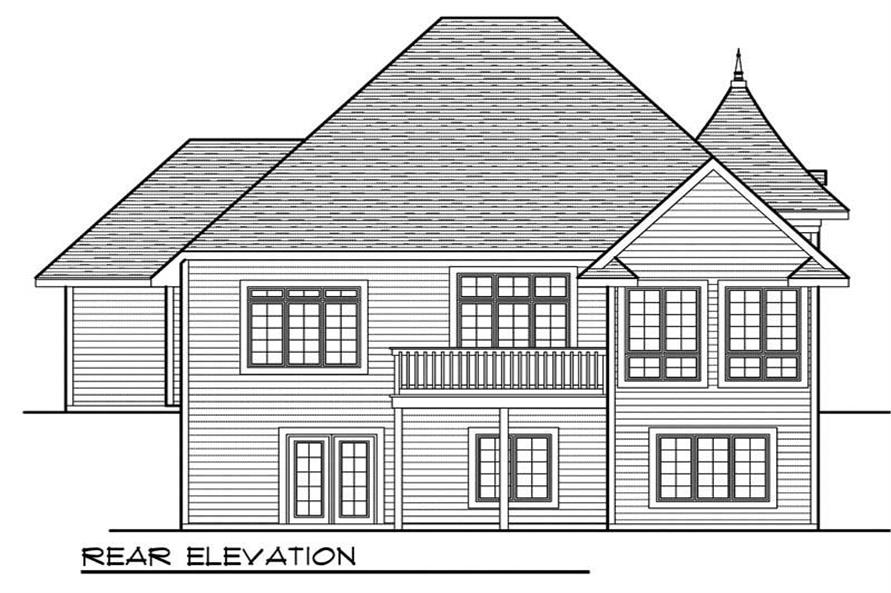 Home Plan Rear Elevation of this 4-Bedroom,2897 Sq Ft Plan -101-1398