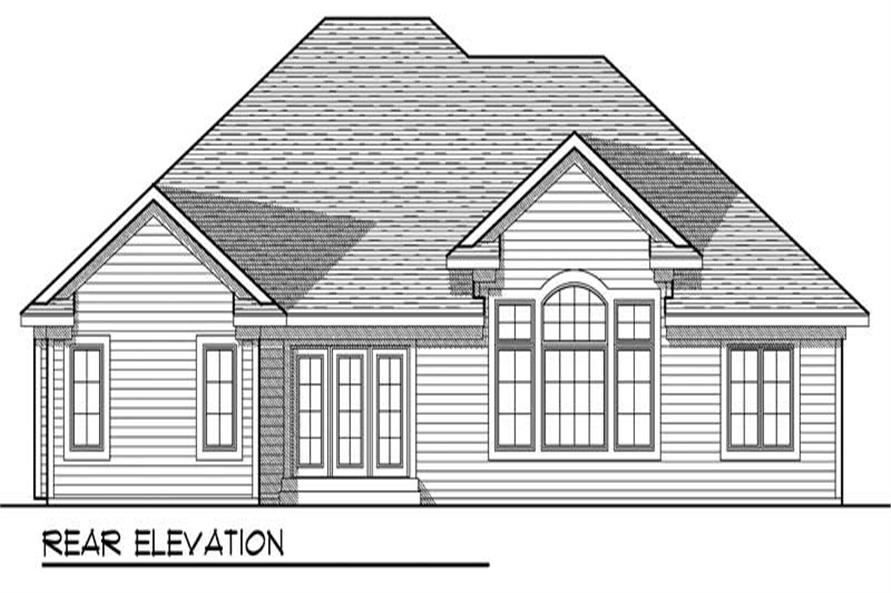 Home Plan Rear Elevation of this 3-Bedroom,1844 Sq Ft Plan -101-1400