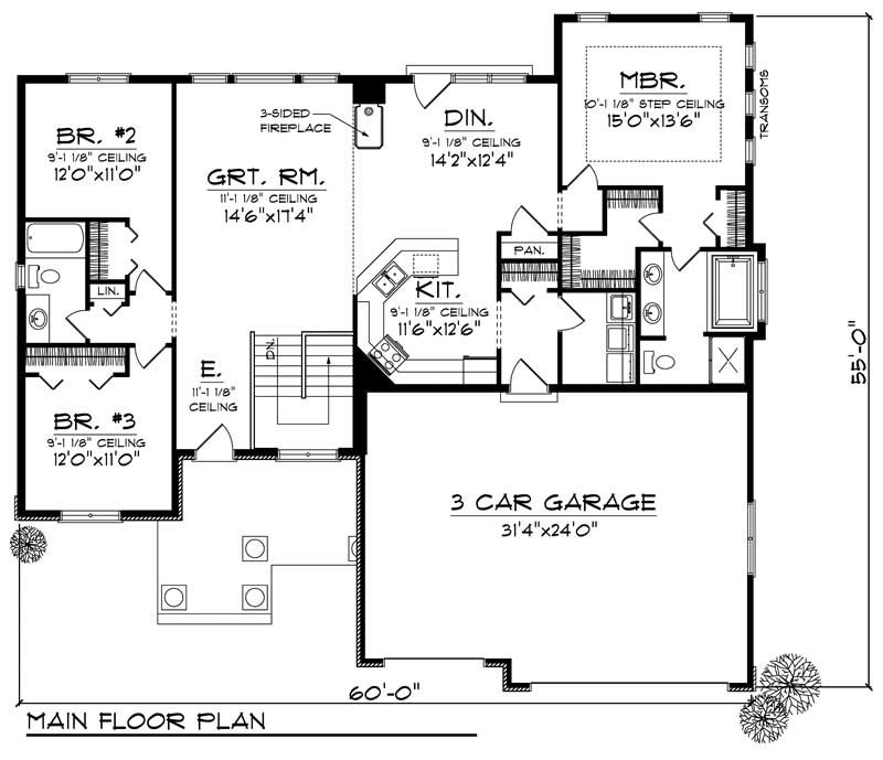 Ranch Home With 3 Bdrms 1844 Sq Ft Floor Plan 101 1400