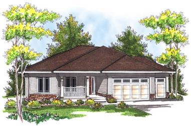 3-Bedroom, 1948 Sq Ft Prairie House Plan - 101-1401 - Front Exterior