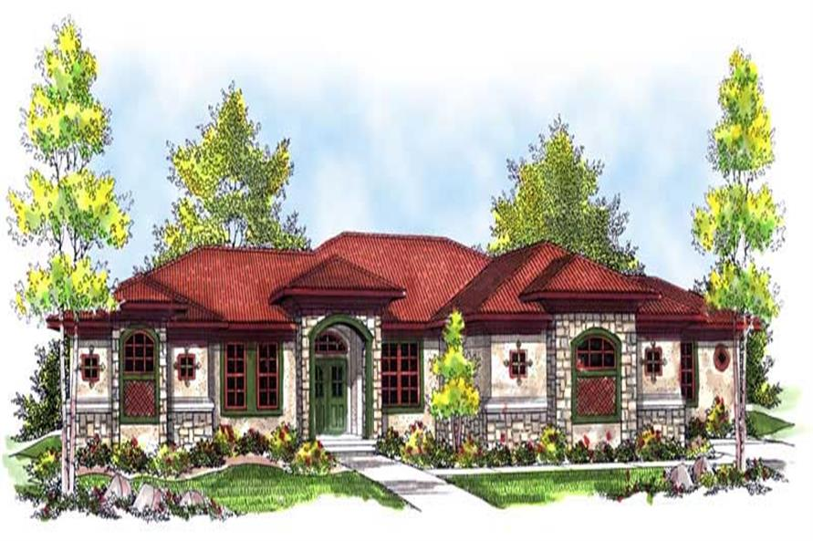 3-Bedroom, 2839 Sq Ft Mediterranean House Plan - 101-1407 - Front Exterior