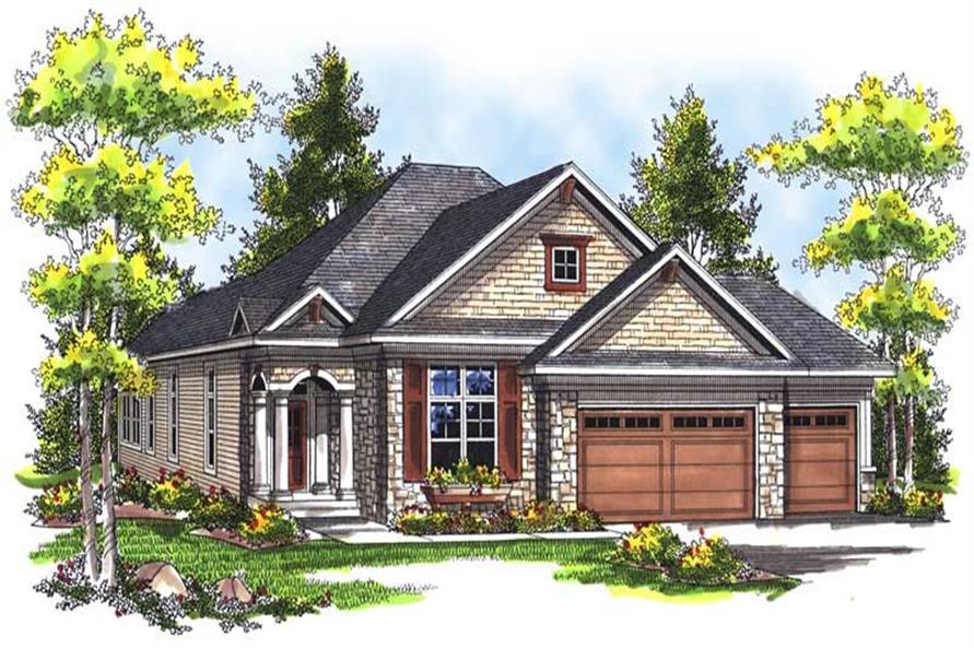 2-Bedroom, 1822 Sq Ft Bungalow House Plan - 101-1408 - Front Exterior
