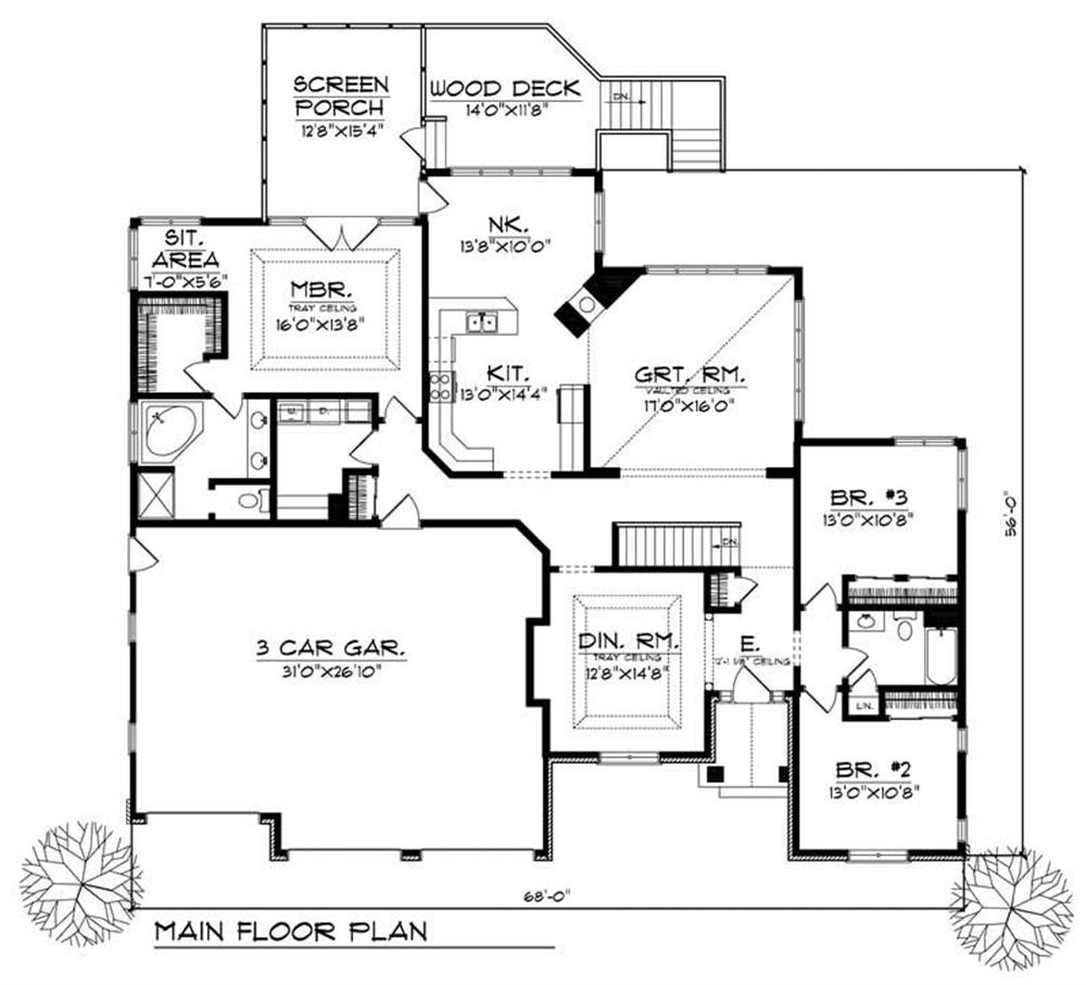 Large images for house plan 101 1410 for Main level floor plans