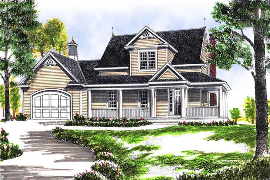 3-Bedroom, 1792 Sq Ft Colonial Home Plan - 101-1412 - Main Exterior