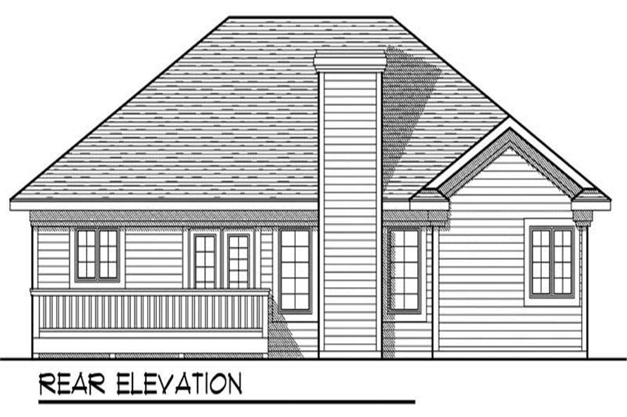 Home Plan Rear Elevation of this 3-Bedroom,1495 Sq Ft Plan -101-1419