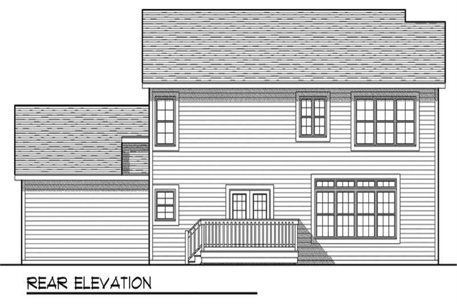 Home Plan Rear Elevation of this 4-Bedroom,2100 Sq Ft Plan -101-1421