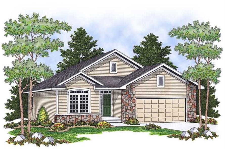2-Bedroom, 1385 Sq Ft Ranch House Plan - 101-1425 - Front Exterior