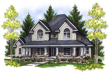 3-Bedroom, 3563 Sq Ft Country Home Plan - 101-1429 - Main Exterior