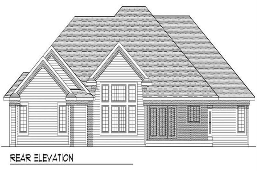 Home Plan Rear Elevation of this 4-Bedroom,2570 Sq Ft Plan -101-1432