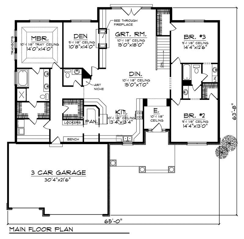 Ranch House Plan 3 Bedrms 2 Baths 2420 Sq Ft 101 1436