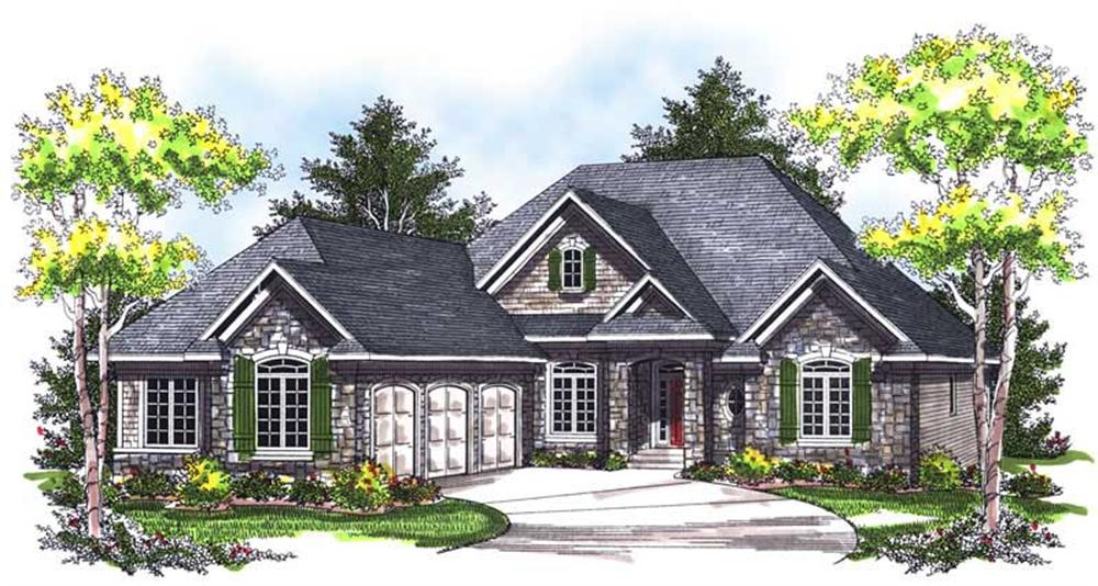 Front elevation of Ranch home (ThePlanCollection: House Plan #101-1437)
