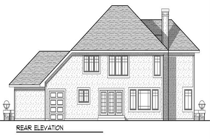 Home Plan Rear Elevation of this 4-Bedroom,2683 Sq Ft Plan -101-1440