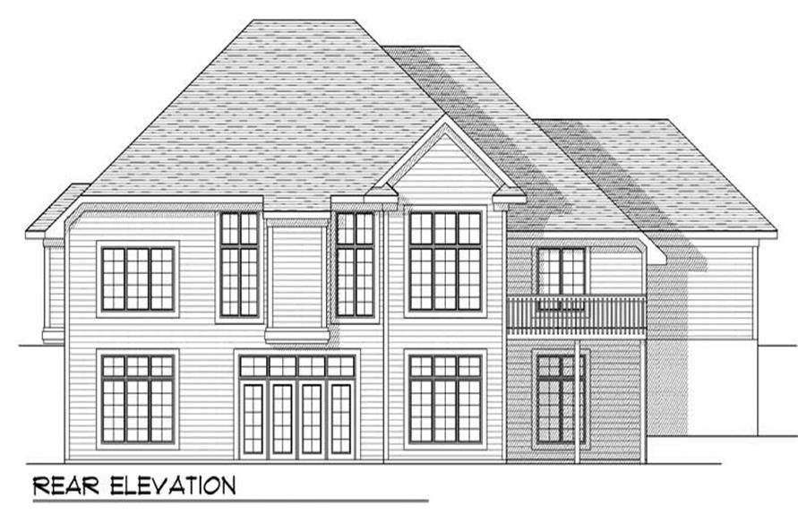 Home Plan Rear Elevation of this 4-Bedroom,3771 Sq Ft Plan -101-1441