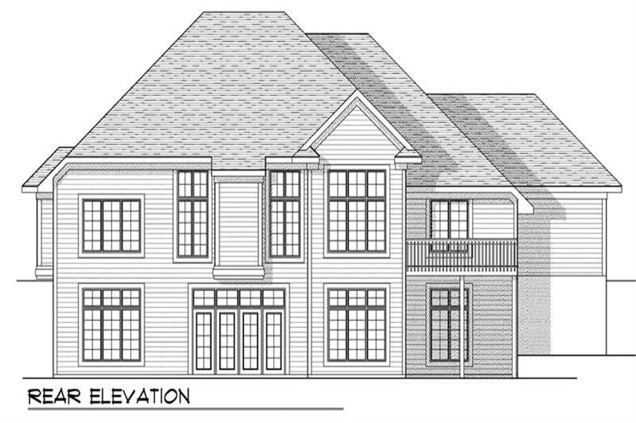 Home Plan Rear Elevation of this 4-Bedroom,3771 Sq Ft Plan -101-1443