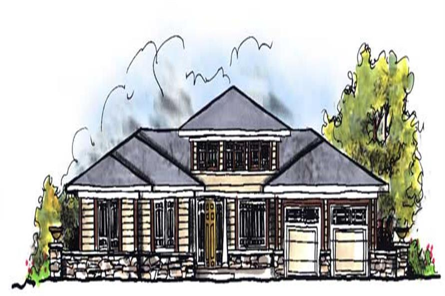 3-Bedroom, 1810 Sq Ft Prairie House Plan - 101-1452 - Front Exterior