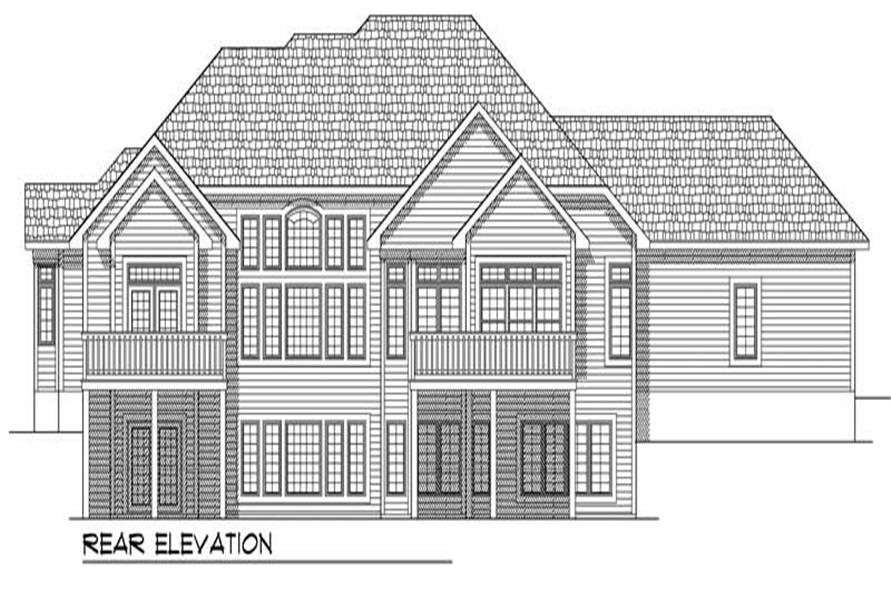 Home Plan Rear Elevation of this 4-Bedroom,3938 Sq Ft Plan -101-1456