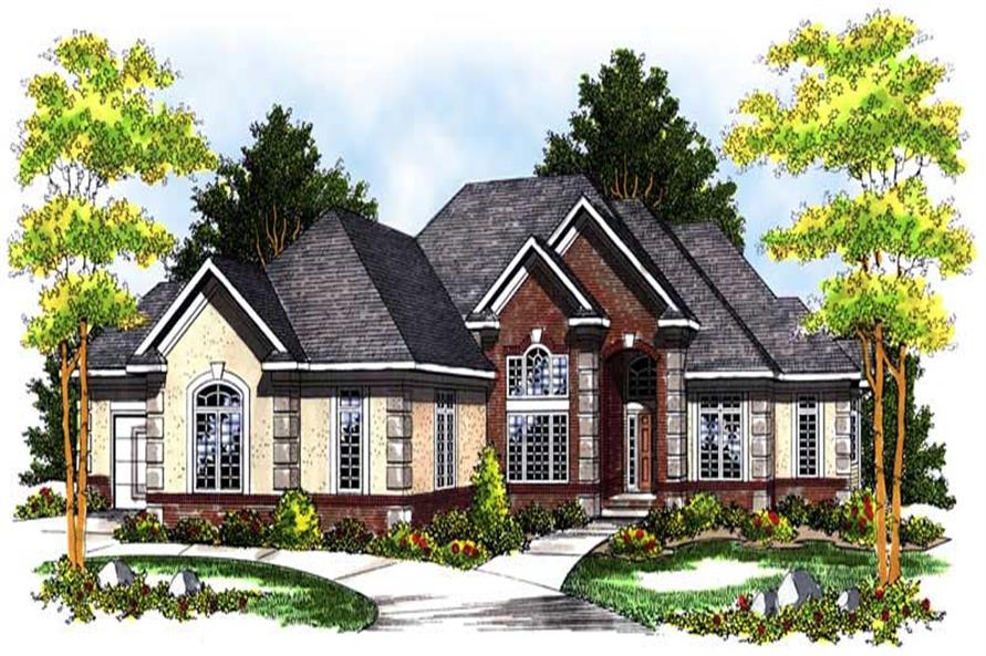 4-Bedroom, 3938 Sq Ft European House Plan - 101-1456 - Front Exterior