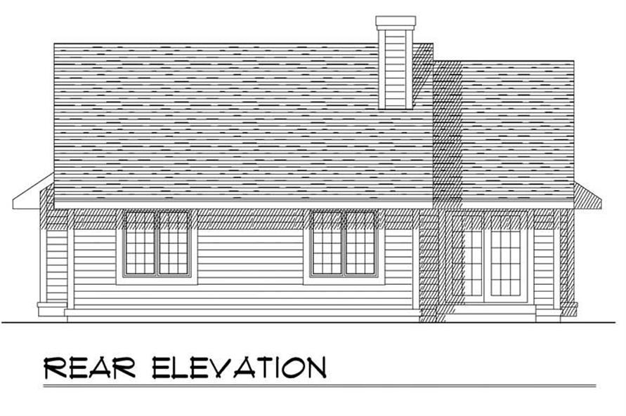 Home Plan Rear Elevation of this 3-Bedroom,1342 Sq Ft Plan -101-1458