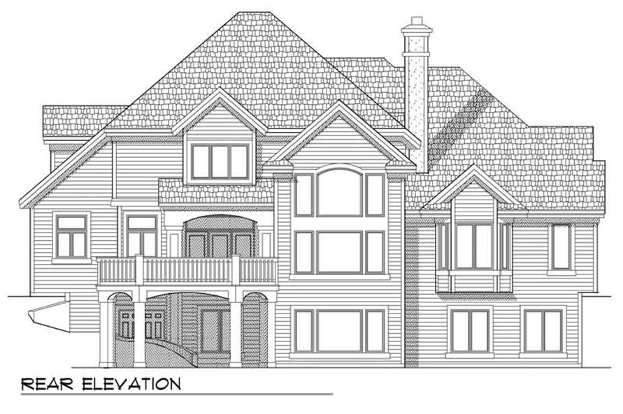 Home Plan Rear Elevation of this 4-Bedroom,4029 Sq Ft Plan -101-1461