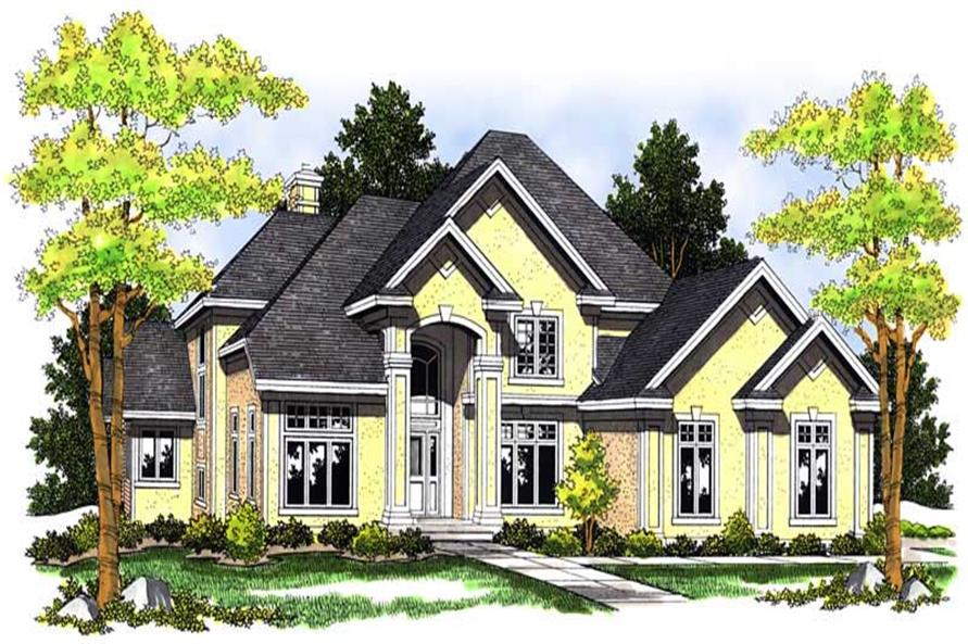 4-Bedroom, 4029 Sq Ft European Home Plan - 101-1461 - Main Exterior
