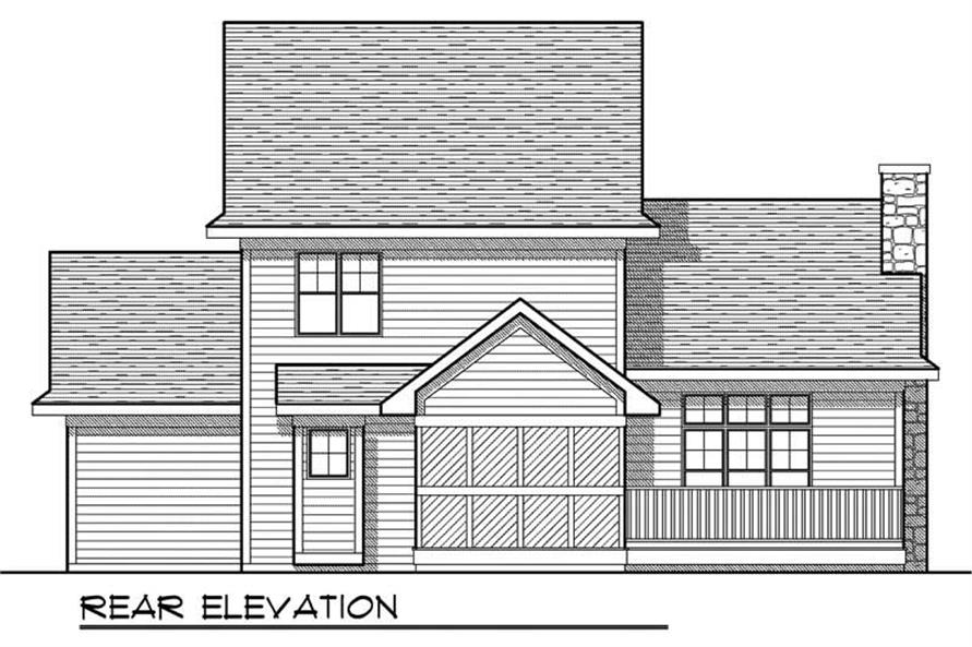 Home Plan Rear Elevation of this 3-Bedroom,1414 Sq Ft Plan -101-1462